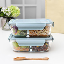日本上ba族玻璃饭盒re专用可加热便当盒女分隔冰箱保鲜密封盒
