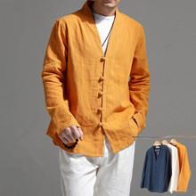 春秋季ba国风民族风ra麻休闲长袖上衣茶禅服衬衫外套