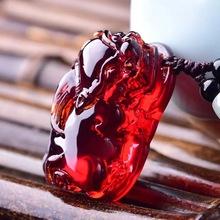 天然精品缅甸琥珀蓝珀血珀貔貅ba11坠 蜜ag链项链男女款