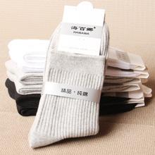 男士中ba纯棉男袜春ma棉加厚保暖棉袜商务黑白灰纯色中腰袜子