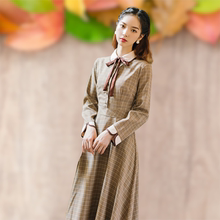 [bayco]法式复古少女格子连衣裙气质修身收
