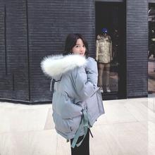 202bc年冬装新式r8毛领宽松羽绒棉服女装短式连帽棉衣棉袄外套