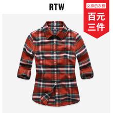 TAObeHI春夏季rw女装长袖格子衬衫女休闲百搭全棉磨毛女式衬衣
