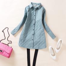 新式夹be保暖加厚衬ut袖棉质开衫衬衣大码宽松休闲打底衫女装