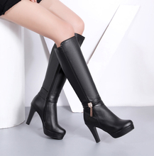 2020秋be新款长靴高rt靴女高筒靴女靴子中筒靴粗跟女鞋防水台