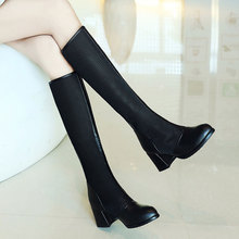 202be早春新式女bu空夏靴粗跟6CM高筒靴女式百搭显瘦黑色网靴