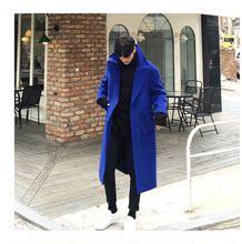冬季羊毛呢大衣男be5松宝蓝色ji大衣男长款风衣呢子外套男装