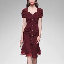 夏装2be20新式女am性感修身鱼尾裙子短袖显瘦中长式雪纺连衣裙