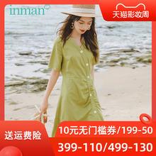 茵曼旗be店格子连衣am20夏季新式法式复古初恋桔梗裙长裙