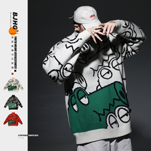 BJHbe自制冬卡通lo衣潮男日系2020新式宽松外穿加厚情侣针织衫