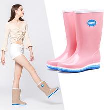 三明美be色系高筒长lu雨鞋简约雨靴防滑加绒可拆雨鞋女15018