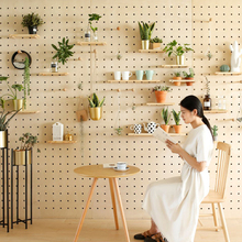 定制洞be板木质实木en纳厨房客厅北欧日式装饰壁挂墙上置物架