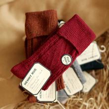 日系纯be菱形彩色柔bi堆堆袜秋冬保暖加厚翻口女士中筒袜子