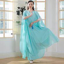 禅舞服be女白色禅服bi衣裙二件套中国风茶服文艺网袖升级长裙