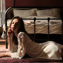 今夕何be 花开花涩ta睡衣女晨袍浴袍和服睡袍仿真丝家居服薄夏