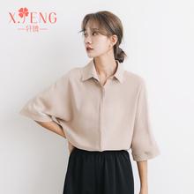 夏季气be中袖职业雪ta女设计感(小)众半袖白衬衣短袖上衣工作服