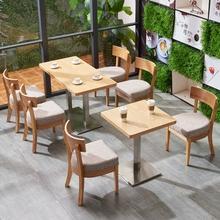 简约现be实木咖啡厅ga合奶茶店冷饮店甜品茶餐厅快餐店桌椅