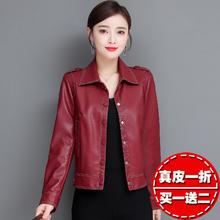 海宁皮be女短式韩款th闲皮夹克2020春秋新式女士时尚(小)外套潮