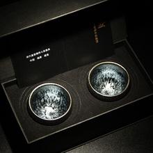 器物志be百花鹅蛋建on盏天目茶盏品茗杯 一对礼盒装