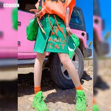 Ccqbfeen半身tj20夏季新式不对称拼接学生休闲网红cec运动风短裙