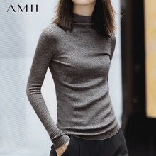 Amibg女士秋冬羊kj020年新式半高领毛衣修身针织秋季打底衫洋气