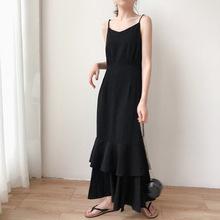 102bgoom 2us新式春季法式打底收腰超长式荷叶边鱼尾吊带连衣裙女
