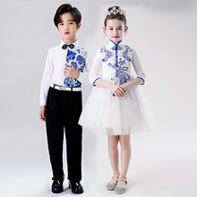 宝宝青bh瓷演出服中yd学生大合唱团男童主持的诗歌朗诵表演服