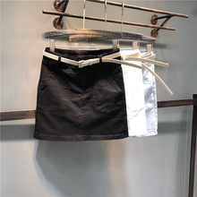 欧洲站bi仔半身裙2ua春夏装新式弹力高腰显瘦百搭A字包臀裙短裙
