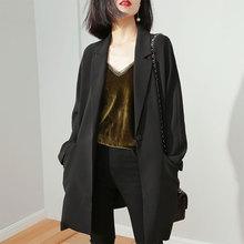 黑色西bi外套女休闲li1春秋新式韩款宽松气质女士上衣中长式西服