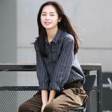 谷家 bi文艺复古条li衬衣女 2021春秋季新式宽松色织亚麻衬衫
