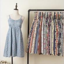 日系森bi纯棉布印花li衣裙度假风沙滩裙(小)清新碎花吊带中长裙
