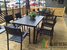 户外休bi家具庭院桌li塑木咖啡厅室外阳台露台组合别墅简约
