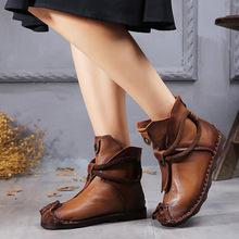 202bi秋冬保暖防la短靴欧美低筒鱼嘴低跟真皮女鞋短靴女罗马靴