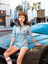子仙仙bi女装连体裤ul0新式夏季休闲性感七分袖条纹针织连衣裤女