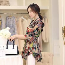 雪纺衫bi2020新ul韩款宽松大码衬衫中长式碎花雪纺上衣打底衫