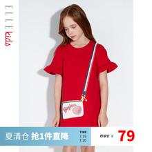 ELLbi Kidsul童连衣裙夏季新式短袖t恤裙子洋气中大宝宝公主裙