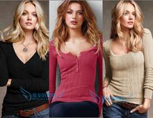 春季薄bi女装长袖套ul显瘦欧美风纯色打底衫毛衣针织衫