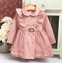 童装女bi春秋装外套ni0新式韩款中大童长袖风衣双排扣中长式大衣