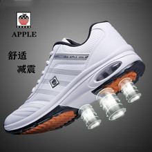 苹果皮bi运动鞋男士et春秋季节纯皮高中生跑步鞋中年学生防臭