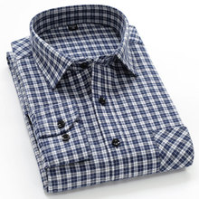 202bi春秋季新式un衫男长袖中年爸爸格子衫中老年衫衬休闲衬衣