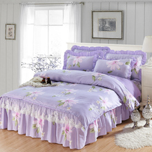 四件套bi秋公主风带yi套家用裸睡床品全棉纯棉床裙式