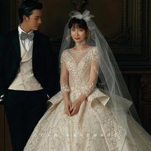 森系唯bi手工刺绣蝴yi式头纱新娘结婚礼服配饰影楼摄影写真