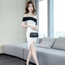包臀连bi裙夏季20yi新式性感修身显瘦紧身(小)个短裙露肩女装裙子