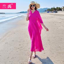 长式度bi连衣裙女2es夏装新式气质V领修身大摆雪纺淑女沙滩长裙