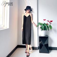 黑色吊带连衣裙女夏季性感轻熟风chibi15雪纺Vmi裙度假长裙