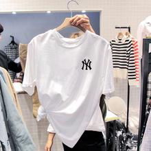 纯棉白色T恤女bi秋装宽松大ug打底衫夏季2020年新款短袖上衣