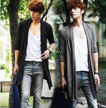 韩款春bi季非主流青ug色中长式薄式开衫男披风宽松式外套衣服