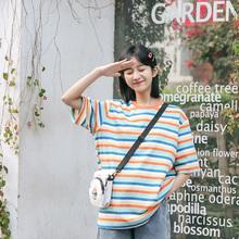 忠犬(小)bi梨形自制-le纹T恤-春夏宽松休闲百搭日系学生女半袖