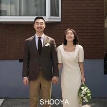 《丁香bi韩国复古法ep连衣裙旅拍领证轻婚纱白色礼服婚礼新娘