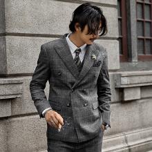 SOAbiIN复古英ep排扣西装外套男 格子商务正装西服婚礼职业装